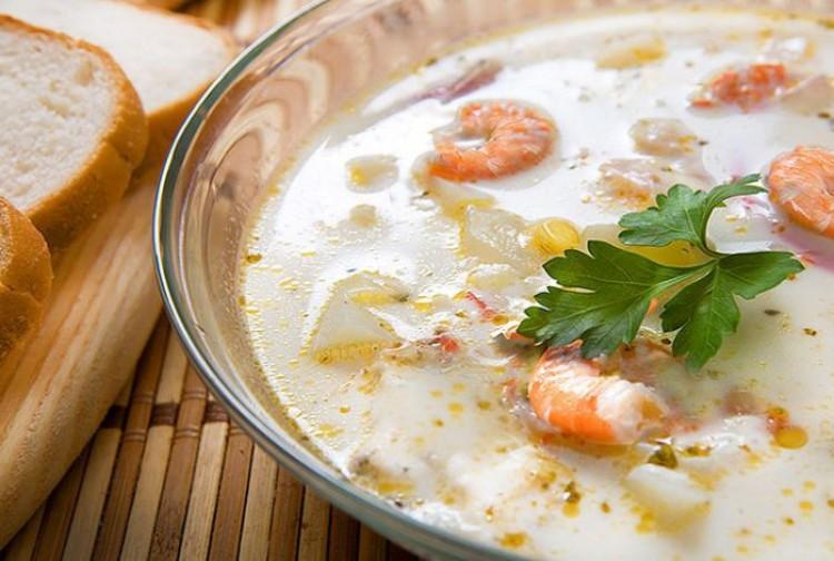 Сырный суп с морепродуктами