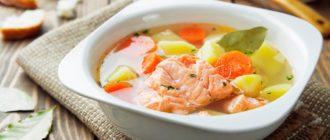 Суп из соленой красной рыбы