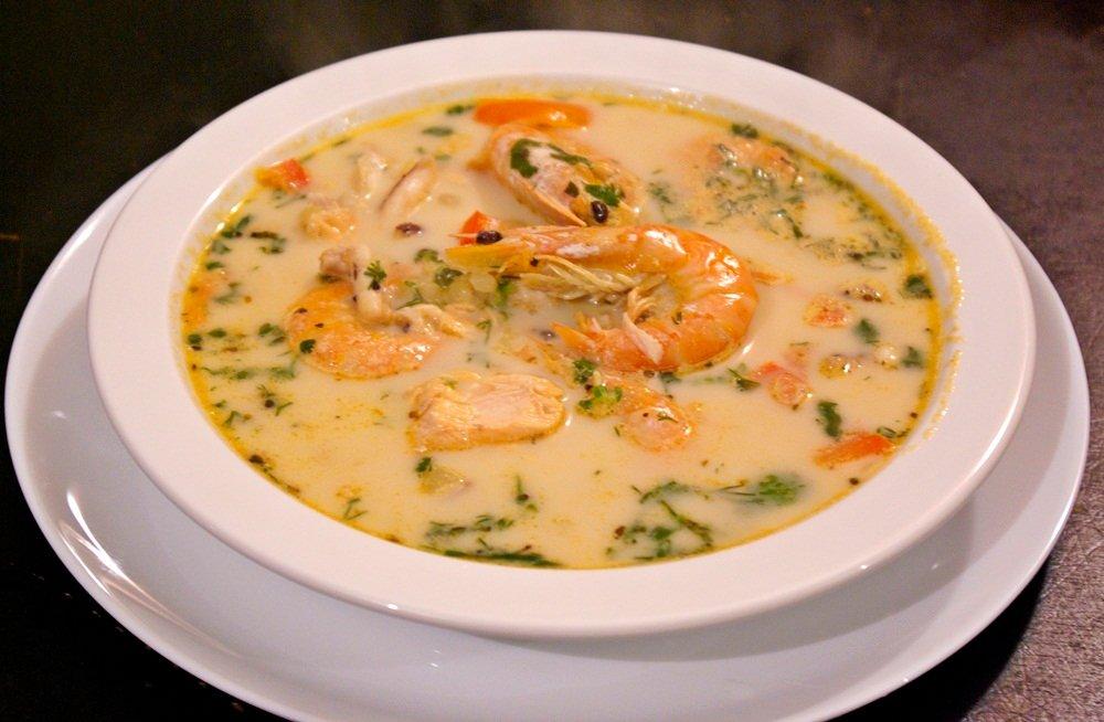 Суп из сёмги с креветками