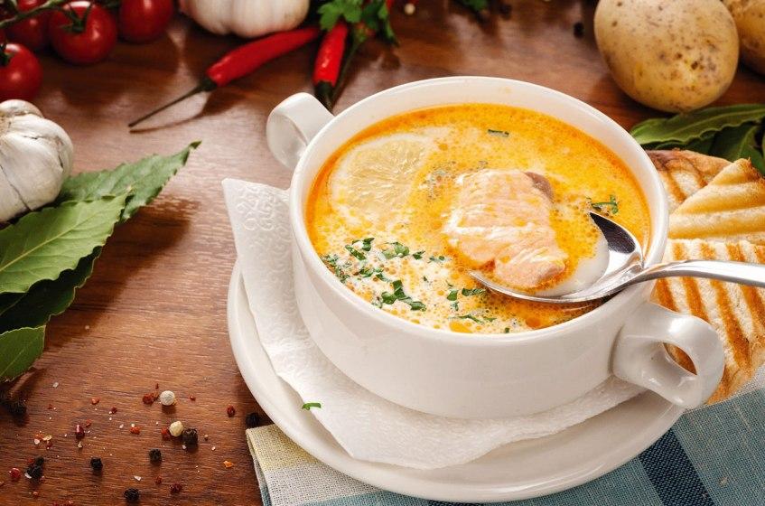 Суп с красной рыбой и апельсиновым соком