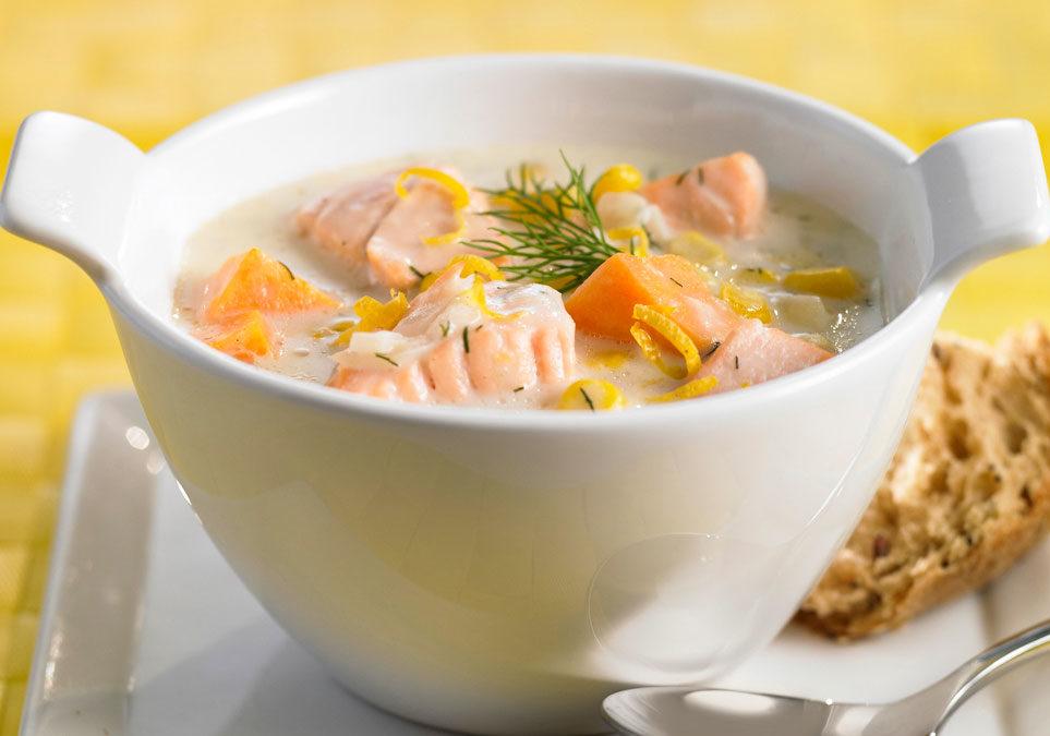 Суп с красной рыбой без картофеля