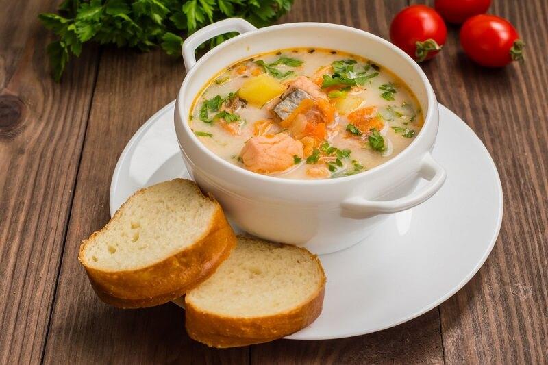 суп с семгой и сливками